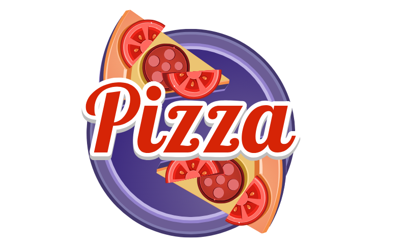 披萨紫色美食不干胶贴