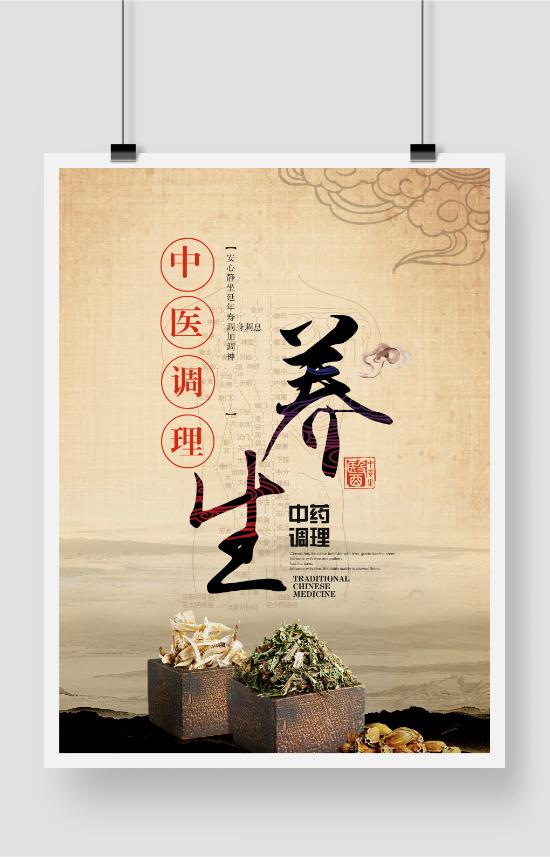 传统中医养生宣传展板海报