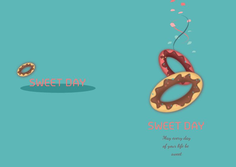 蓝色 手绘 插画 甜甜圈 记事本