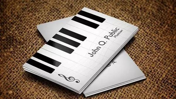 音乐行业名片 黑白琴键