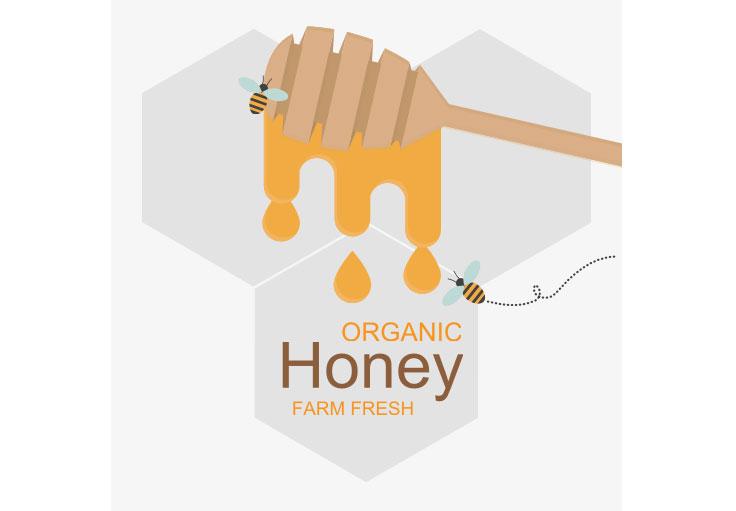 甜美的蜂蜜贴纸素材