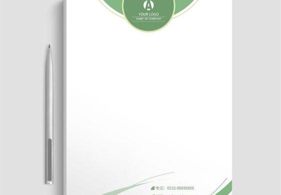 清新的绿色信纸